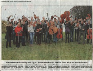 Ankündigung Konzert 29.01.2014 Nordbayerischer Kurier